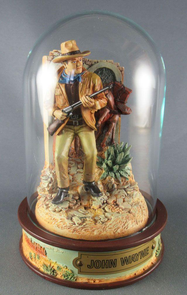John Wayne - Statuette Résine Globe Verre Franklin Mint - Carabine en Mains