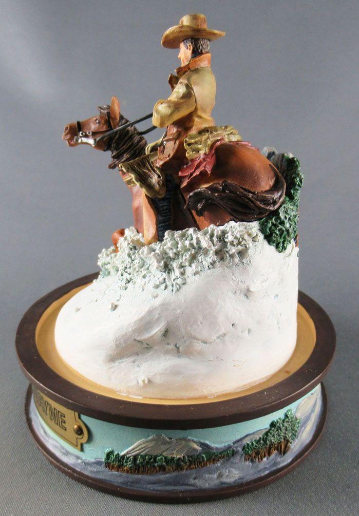 John Wayne - Statuette Résine Globe Verre Franklin Mint - Cavalier dans la Neige