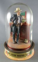 John Wayne - Statuette Résine Globe Verre Franklin Mint - Habits Noirs Accoudé au Comptoir