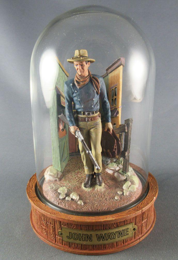 John Wayne - Statuette Résine Globe Verre Franklin Mint - Marchant Carabine en Main & Sacoches