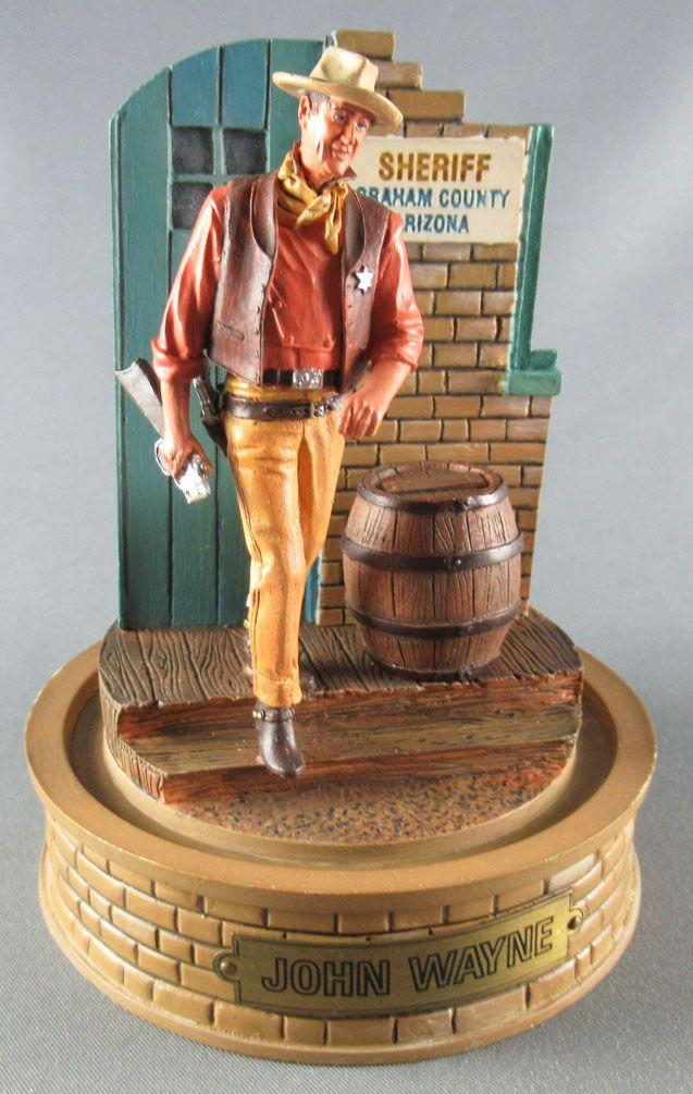 John Wayne - Statuette Résine Globe Verre Franklin Mint - Sheriff Graham County Arizona
