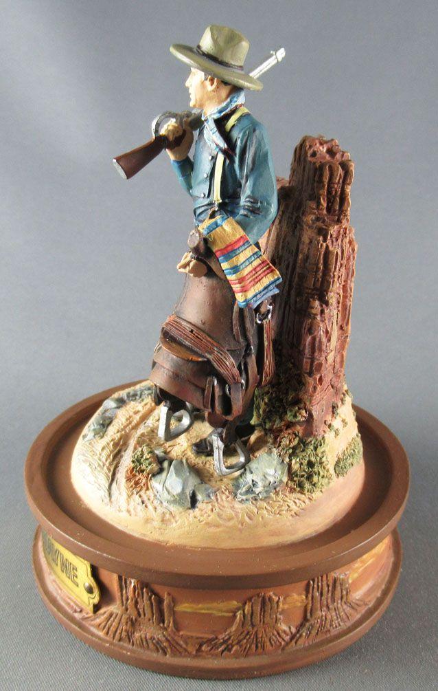 John Wayne - Statuette Résine sans Globe Verre Franklin Mint - Cavalerie US Fusil & Selle