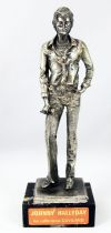 "Johnny Hallyday - Statue en métal injecté 16cm ""Johnny au micro\"" - Daviland France 1978"