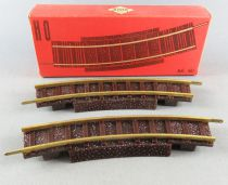 Jouef 461 Ho 2 Half-Curved Tracks  R=325mm Brass Rails Ballast Track Mint in Box