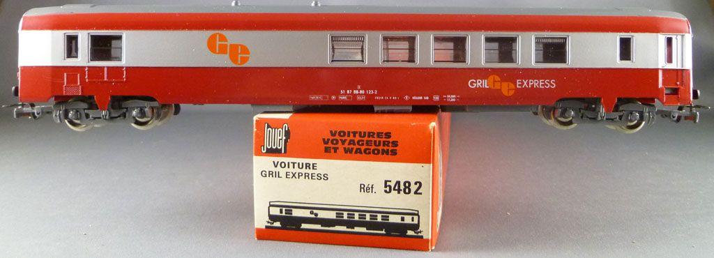 Jouef 5482 Ho Sncf Voiture Uic Restaurant Grill Express Livrée Rouge & Gris en Boite