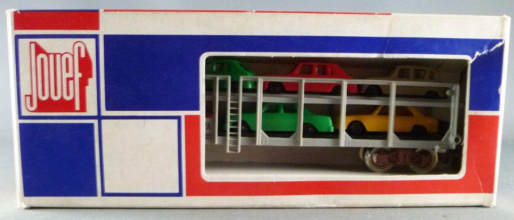 Jouef 6540 Ho Sncf Wagon Porte-Auto Stva avec 6 voitures Boite Tricolore