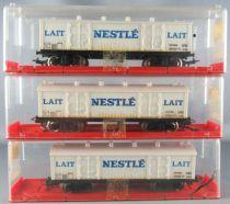 Jouef 6561 Ho Sncf 3 x Wooden Fridge Wagon with bogies Cie Nestlé Mint in Crytal box