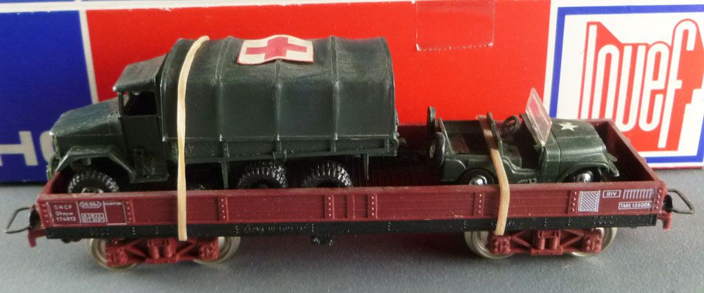Jouef 6601 Ho Sncf Flat Wagon with Militarian Gmc Truck and Jeep Mint in Box