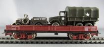 Jouef 660100 Ho Sncf Flat Wagon with Roco Minitanks Militarian Gmc Truck & Jeep Boxed
