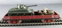 Jouef 6602 Ho Sncf Wagon Plat Transport Engins Militaires Char + Jeep