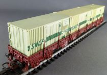 Jouef 6750 Ho Sncf Flat Wagon with Bogies 3 Cnc Containers Type Res 916
