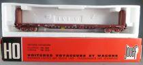 Jouef 6751 Ho Sncf Wagon Plat à Bogie à Dossiers Type Rloos 516 en Boite