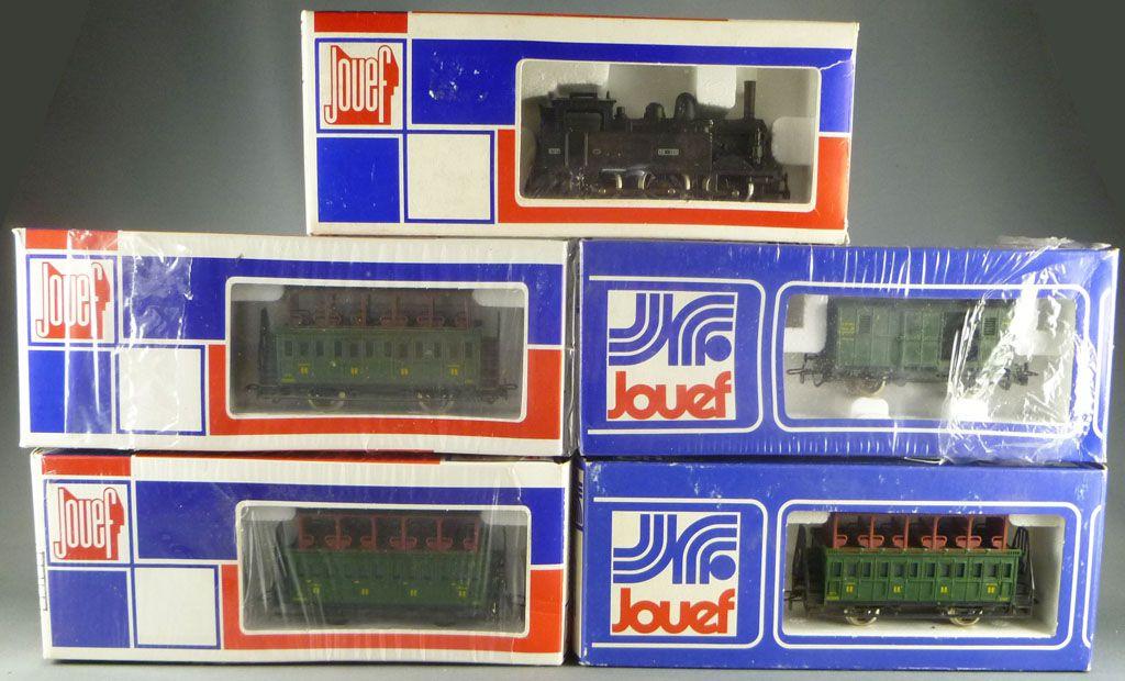 Jouef Ho Etat Steam Loco 060 T 135 3 double-deck Coaches 1 Van Mint in box