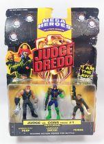 Judge Dredd - Mega Heroes par Mattel (Judge vs Cons Pack #1) - Under City Perp, Lawgiver Dredd & Fergie