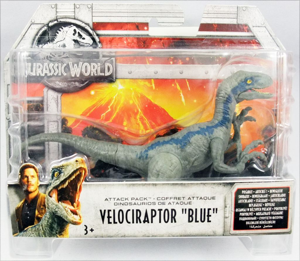 Jurassic World Fallen Kingdom Attack Pack Velociraptor Raptor Blue