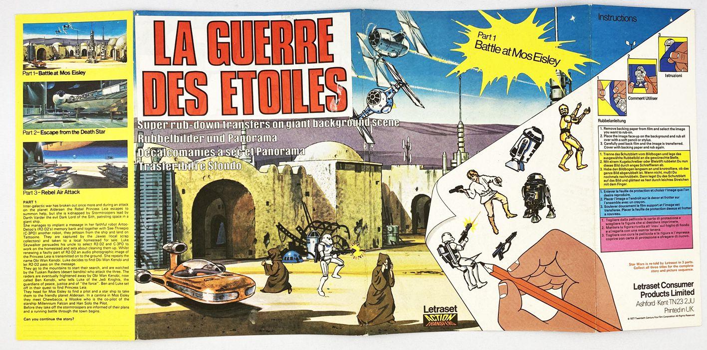 La Guerre des Etoiles (Star Wars) 1978 - Letraset Rub-Down Transferts on Background scene (loose)