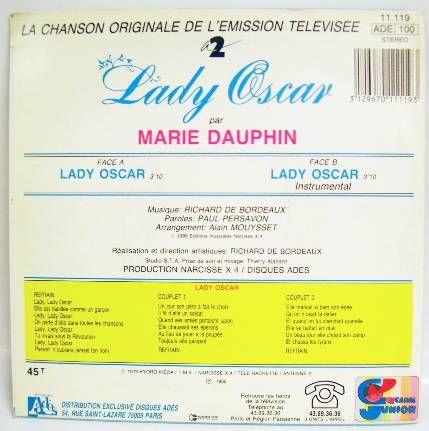 Lady Oscar - Mini-LP Record - Original French TV series Soundtrack - Ades Records 1986