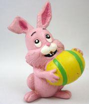 Lapin & Caneton - Figurine PVC Maia Borges - Lapin rose avec oeuf de Pâques