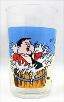 Laurel & Hardy 1973 Mustard glass - Hardy in water barrel