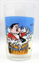 Laurel & Hardy 1973 Mustard glass - Hardy in water barrel