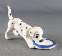 Les 101 dalmatiens - Figurine Jim - Chiot avec la tête dans sa gamelle collier vert
