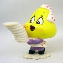 Les Champignoux - Figurine PVC Michel Oks 1984 - Champignou avec assiettes