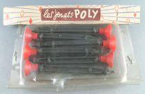 Les Jouets Poly 6 Fléchettes Plastiques Embout Caoutchouc Rouge Neuf Blister