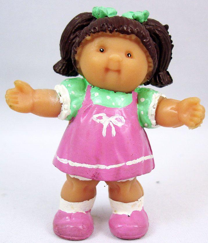 Les Patoufs - Figurine PVC 1984 - Fille brune en robe rose