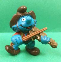 Les Schtroumpfs - Schleich - 20159 Schtroumpf Cowboy joueur de violon (chapeau & archet marron)