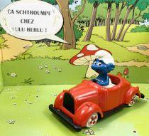 Les Schtroumpfs - Voiture métal Esci - Schtroumpf en voiture rouge (occasion)