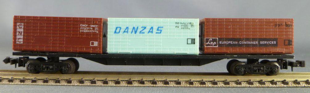 Lima 485 Ech N Sncf Wagon Plat 3 Containers 20 pieds Cnc Danzas Lep