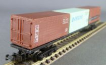 Lima 485 Ech N Sncf Wagon Plat 3 Containers 20 pieds Cnc Danzas Lep