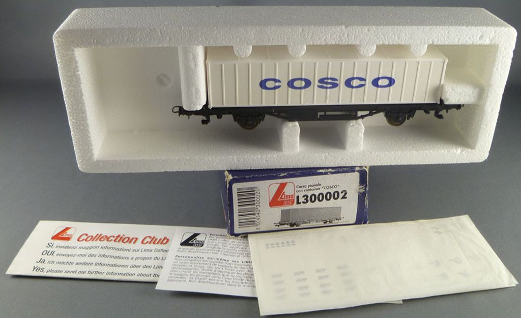 Lima Jouef L300002 Ho Sncf Wagon Plat Type Laes Container Cosco Neuf Boite