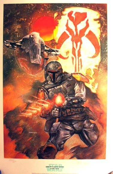 Lithograph - Boba Fett: Bounty Hunter Signed Art Print by Dave Dorman (1284/1500)