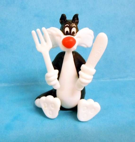 Looney Tunes - Kinder Surprise Premuim Figure 1991- Sylvester with knife and fork