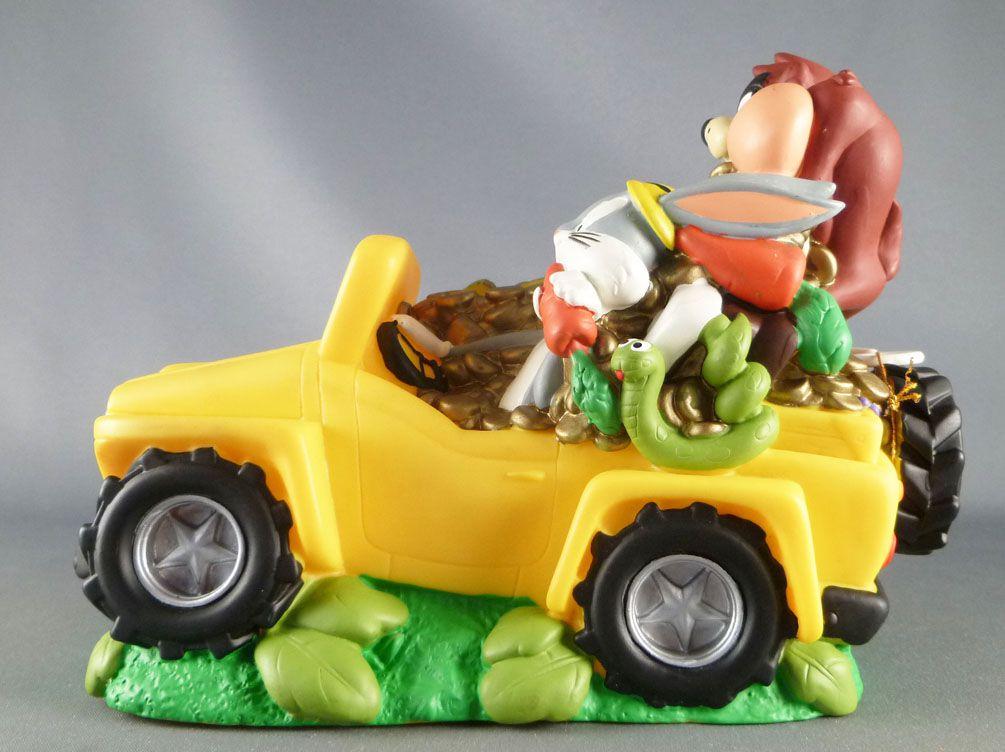 Looney Tunes - Tirelire 18cm Bullyland 1998 - Taz & Bugs Bunny Jeep Trésor