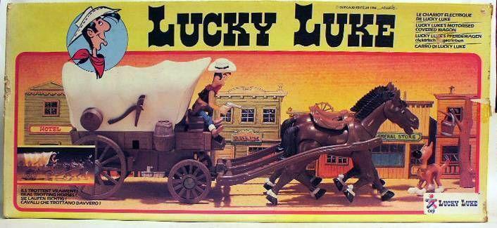 Lucky Luke - Ceji  - Mint in box Covered wagon battery operated