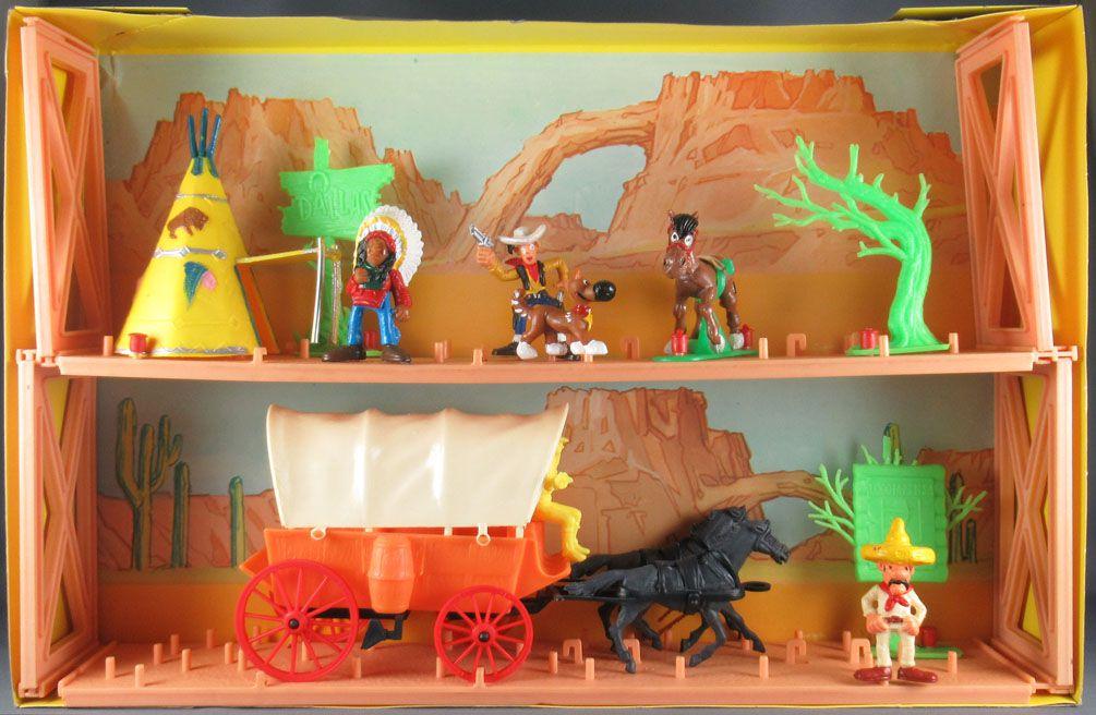 Lucky Luke - Comansi - City Boite Diorama 2 étages & Chariot Baché Neuf Réf 714