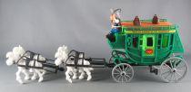 Lucky Luke - Comansi - Diligence Verte Roues Grises 4 Chevaux Blancs Neuve Boite Réf 700