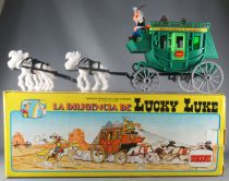 Lucky Luke - Comansi - Stage Coach Green Grey Wheels 4 White Horses Mint in Box) Ref 700