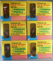Lucky Luke - Complete Set of 6 Brabo Figures + Puzzles - Mint in Box