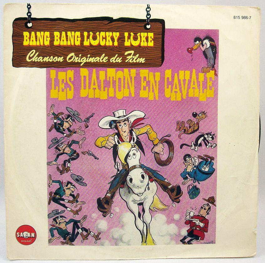 """Lucky Luke - Disque 45Tours - Bande originale du film \""""Les Dalton en cavale\"""" - Saban Records 1983"""