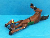 Lucky Luke - Prototype en Résine - Cheval marron couché sur le dos (articulé)