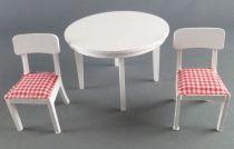 Lundby of Sweden - 2 Chaises Blanches Tissus + Table Cuisine Maison de Poupées