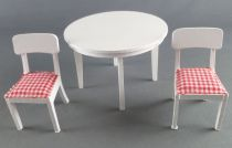 Lundby of Sweden - 2 x White Wooden Chairs with Fabric + Kitchen Table Dolls House Furniture