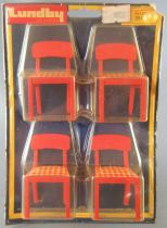 Lundby of Sweden # 2511 - Continental Kitchen 4 x Red Wooden Chairs with Red & White Fabric Dolls House Furniture Mint on Card