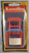 Lundby of Sweden # 3125 - 1 x Red Wooden Chair with Blue Fabric Dolls House Furniture Mint on Cerd