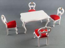 Lundby of Sweden - 4 Chaises Blanches Tissus Rouge + Table Maison de Poupées