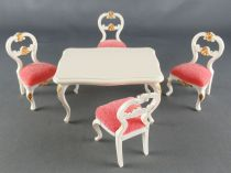 Lundby of Sweden - 4 x White Wooden Chairs with Pink Fabric + Table Dolls House Furniture