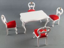 Lundby of Sweden - 4 x White Wooden Chairs with Red Fabric + Table Dolls House Furniture